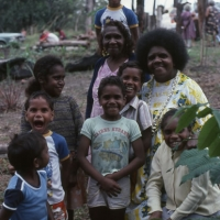 With Children of the Rainforest, at Kuranda. North Queensland, 1980\'s, Photo by Jennifer Isaacs
