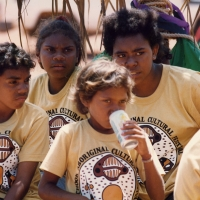 Ruchook Festival, shirts depicting the dugong were designed by Thancoupie to be worn proudly by the young participants - Photo by Jennifer Isaacs